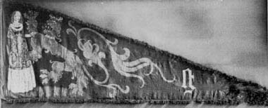 Extant banner for the City of Ghent circa 1375 tempura on linen